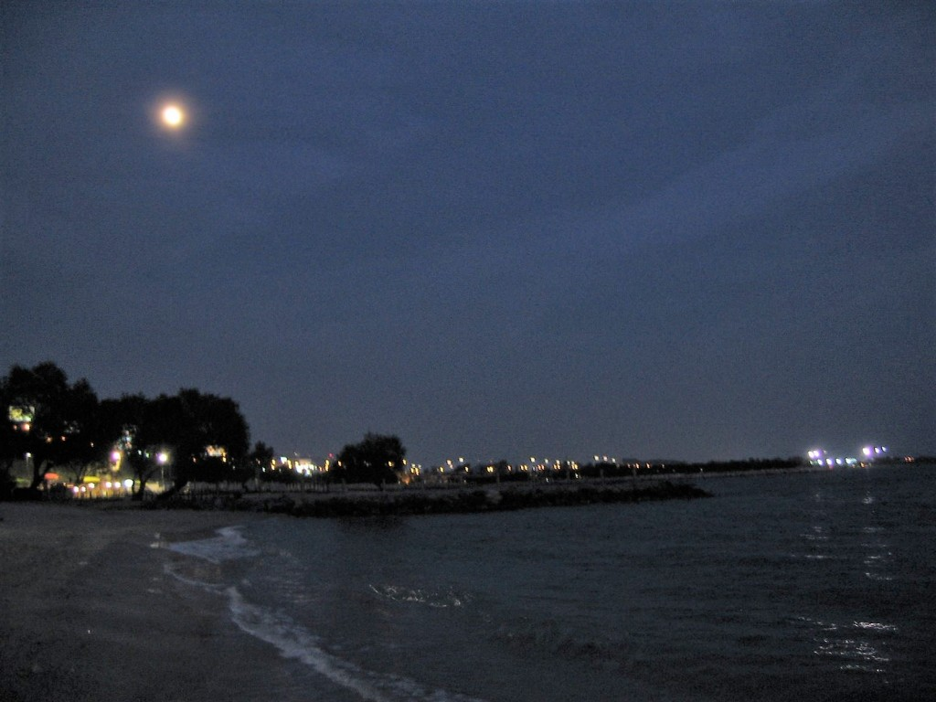 Athens Beach under the moonlight